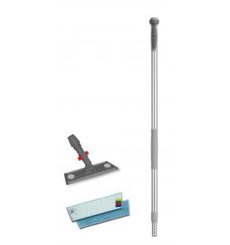 Support balai support velcro avec blocage et  manche télescopique  bandeaux microfibre 30x12 cm