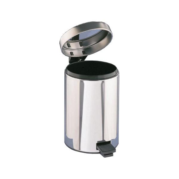 Poubelle 3 litres acier chrom p dale - Poubelle salle de bain noire ...