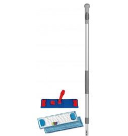 Support balai de lavage pliable 40 cm f- 2 franges microfibre et manche télescopique